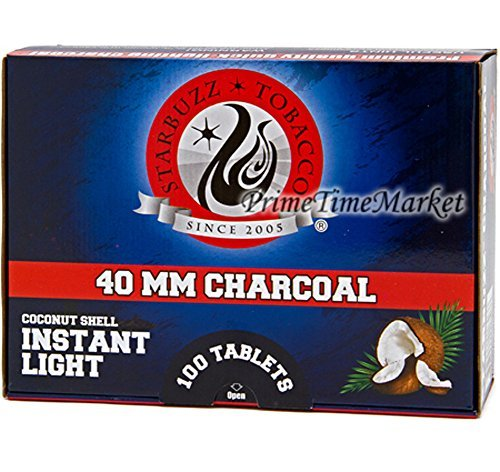 Starbuzz Charcoal 100 Pieces Quick Instant Light Coconut Shell Hookah Shisha Large Coal Fast Lite Medium Size 40 MM Box