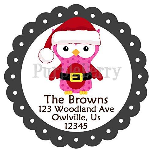 Moira ホリデーアドレスラベル かわいいサンタクロウ 赤 ピンク 黒 冬 鳥 フクロウ 名前入り住所ラベルステッカー 20クリスマスアドレスステッカー B07JM5YXPC