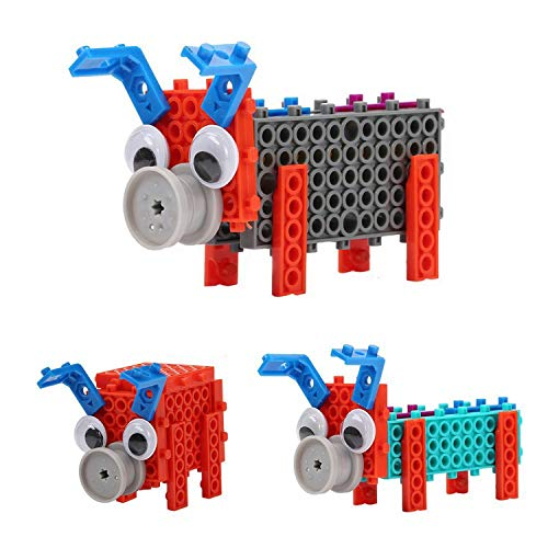 PACKGOUT Building Animals Toys, Orange Building Blocks 12 Styles Kid Prizes STEM Robot Kit Building Gift Electric Toys Pig Family