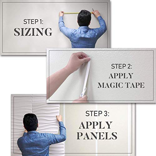 Wall Puzzle by Urban Decor - Easy Peel & Stick 3D Decorative Panels for Home and Business (32sqft/Box, Wall Puzzle) (Wave) by Urban Decor MagicWood (Image #4)