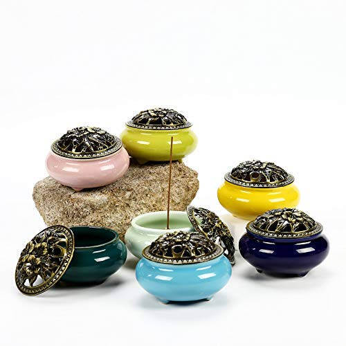 (PHILOGOD Incense Burner Ashtray Random 11 Colors - Relieve Pressure Incense Sticks Made up of 30 Tibetan Medicine Herbs Accessory (Only 1 Burner) Test Your Lucky Color with It)