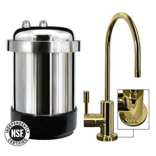 WaterChef U9000 Premium Under-Sink Water Filtration System with Intelligent Monitor (Polished Brass Designer Faucet) by WaterChef®