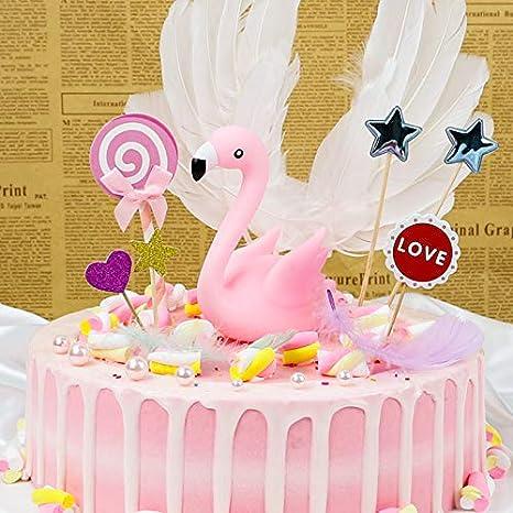 Pink Flamingo Cake Topper Dessert Cupcake Decor Wedding Birthday Party Decor WFR