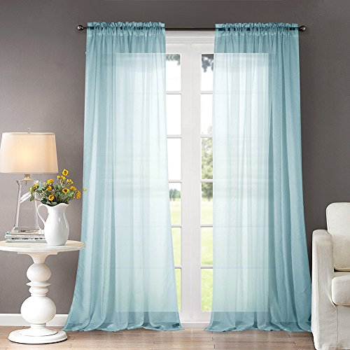 Dreaming Casa Solid Sheer Curtains Draperie Lake Blue Rod Pocket Two Panels 52