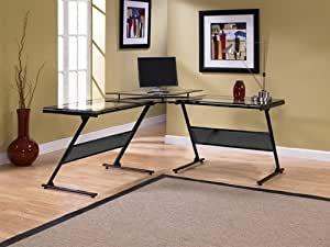 Modern L-shaped Corner Glass Computer Desk with Raised Center
