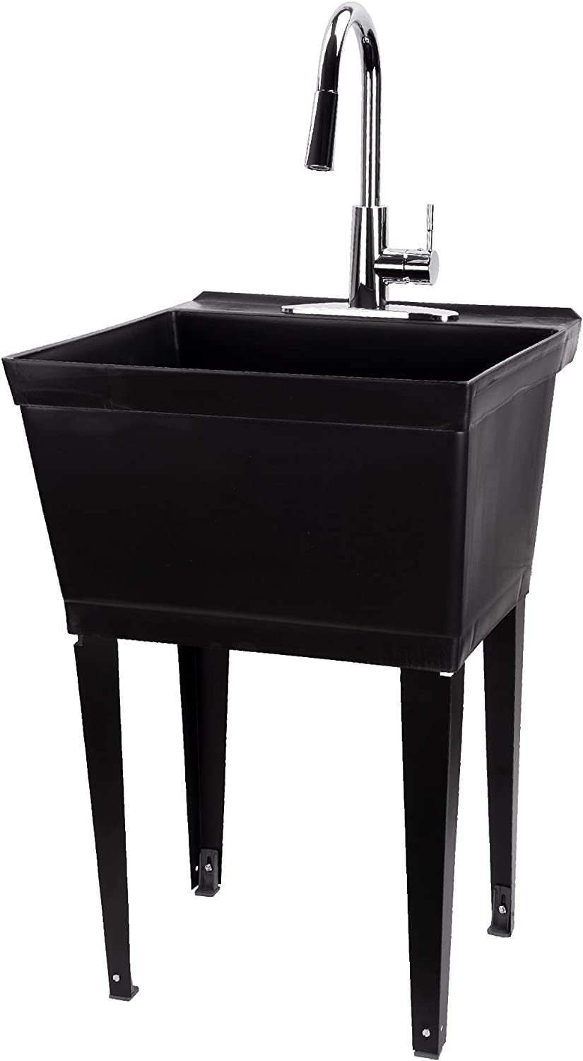 Stainless Coil High-Arc Pull-Down Sprayer Faucet Soap Dispenser and Spacious Cabinet by JS Jackson Supplies Tehila Utility Sink Black Vanity
