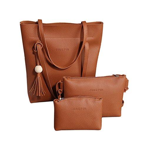 Domybest - Bolso al hombro de Piel para mujer marrón claro