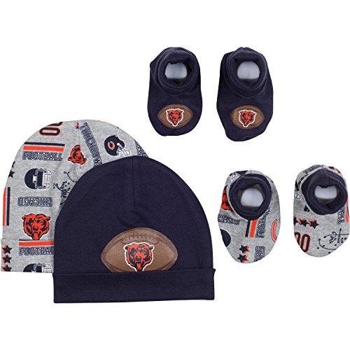 Booties Cap (NFL Chicago Bears 2 Baby Caps and 2 Booties Set, 0-6 Months, Navy/Gray)