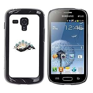 KLONGSHOP // Cubierta de piel con cierre a presión Shell trasero duro de goma Protección Caso - Geometría abstracta Espacio - Samsung Galaxy S Duos S7562 //