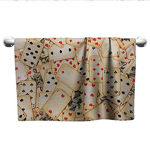 Casino,Boys Towel Old Playing Cards Themed Vintage Classic Style Entertaining Wealth Fortune Beach Towels Beige Red Black W 28