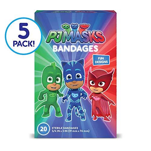 Child 3/4 Mask - PJ Masks Kids Bandages, 100 ct - Adhesive Bandages for Minor Cuts, Scrapes, Burns
