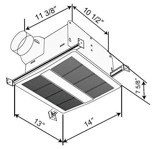 150 CFM KAZE APPLIANCE SE150TL2 Ultra Quiet Bathroom Exhaust Fan with LED Light and Night Light 1.1 Sones SE140TL2