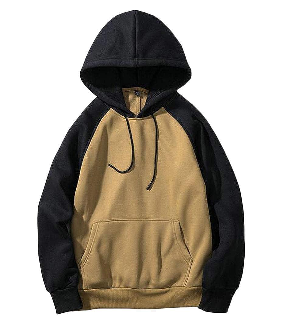 Cromoncent Mens Fashion Raglan Sleeve Pockets Hooded Pullover Spell Color Sweatshirts