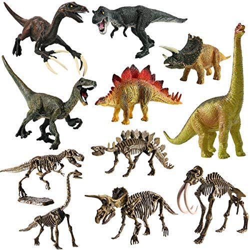GEYIIE Kids Dinosaur Play Set Toys, 11 Pack Dinosaur with Skeleton, Realistic Toy Set for Dinosaur Lovers