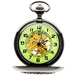 Steampunk Vintage Roman Letters Design Case Mechanical Pocket Watch with Chains for Xmas Gifts 7
