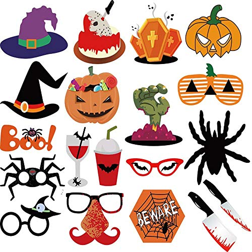 Richboom 66pcs Halloween Party Photo Booth Props Skull Witch Hat Pumpkin Bat Halloween Party Decor Supply by Richboom (Image #2)