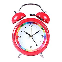 Succper Alarm Clock Non-Ticking Twin Bell Alarm Clock - Metal Frame 3D Dial with Backlight Function - Desk Table Clock for Home Office