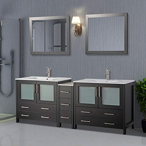Vanity Art 84 inch Double Sink Modern Bathroom Vanity Compact Set 2 -
