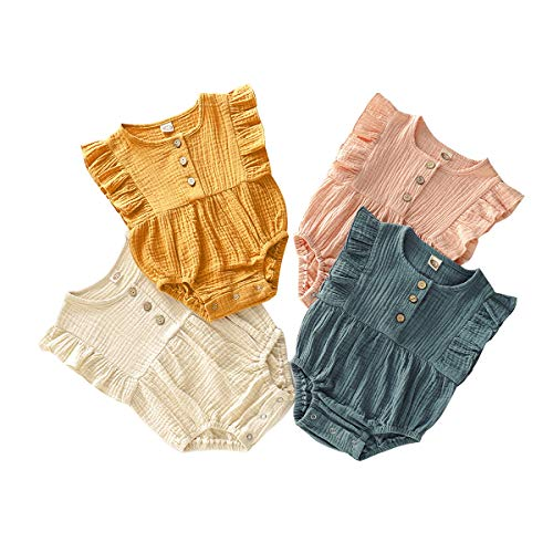 Newborn Baby Girl Romper Jumpsuit Cotton Linen Sleeveless Solid One Romper Baby Girl Clothes 3-6 Months