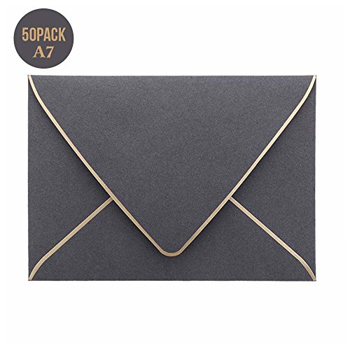 A7 Gray Envelopes 5 x 7,50Pack,- For 5x7 Cards| Self Seal| Perfect for Weddings, Invitations, Photos, Graduation, Baby Shower| 250GSM Luxury paper|5.25 x 7.25 Inches (Smoke -