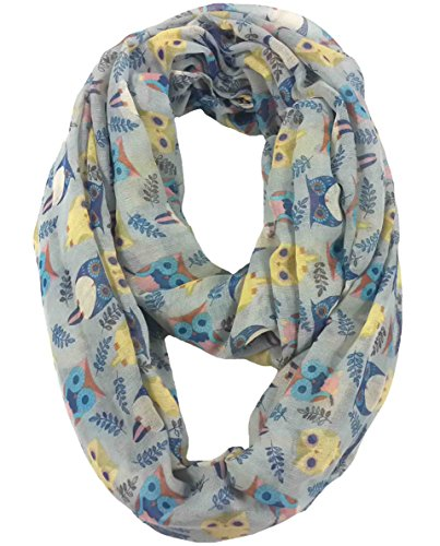 Lina & Lily Owl Print Infinity Loop Scarf for Women Lightweight (Light Grey)