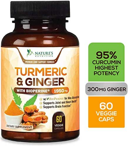 Turmeric Curcumin Highest Potency 95% Standardized with BioPerine and Ginger 1950mg - Black Pepper for Best Absorption, Made in USA, Best Vegan Joint Pain Relief, Turmeric Ginger Pills - 60 Capsules