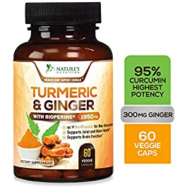 Turmeric Curcumin 95% Curcuminoids with BioPerine and Ginger 1950mg – Black Pepper for Ultra High Absorption, Made in USA, Best Vegan Joint Support, Turmeric Ginger Supplement Pills – 60 Capsules