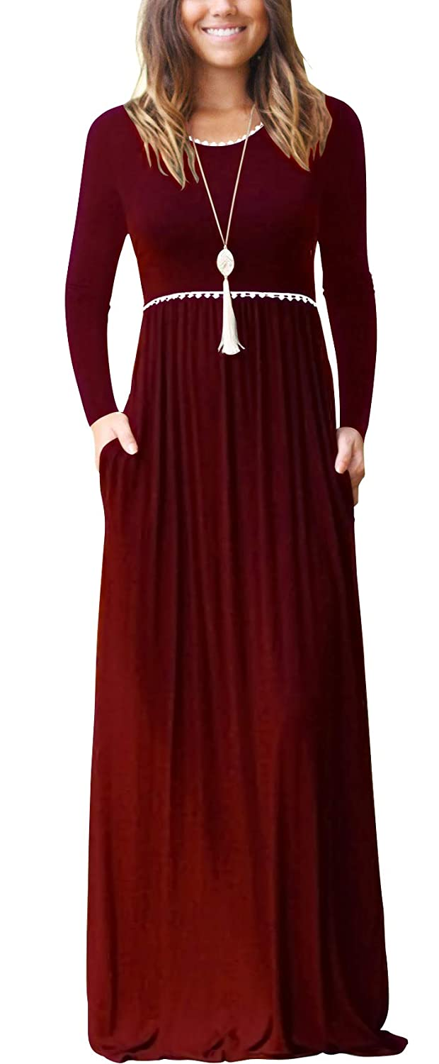 02 Long Sleeve Wine Red WEACZZY Women's Sleeveless Loose Plain Vacation Days Maxi Dresses Casual Long Dresses with Pockets