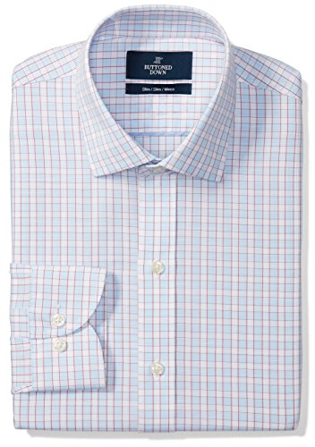Buttoned Down Men's Slim Fit Spread-Collar Pattern Non-Iron Dress Shirt, Light Blue/Orange Check, 16.5
