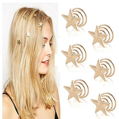 (Aysekone 6 Pcs/Pack Delicate Bridesmaid Gift Gold Wedding Hair Pins Clips Bridal Star Hairpin Spiral Hair Claw Stick Headwear Barrettes for Women Girls Hair Accessories)