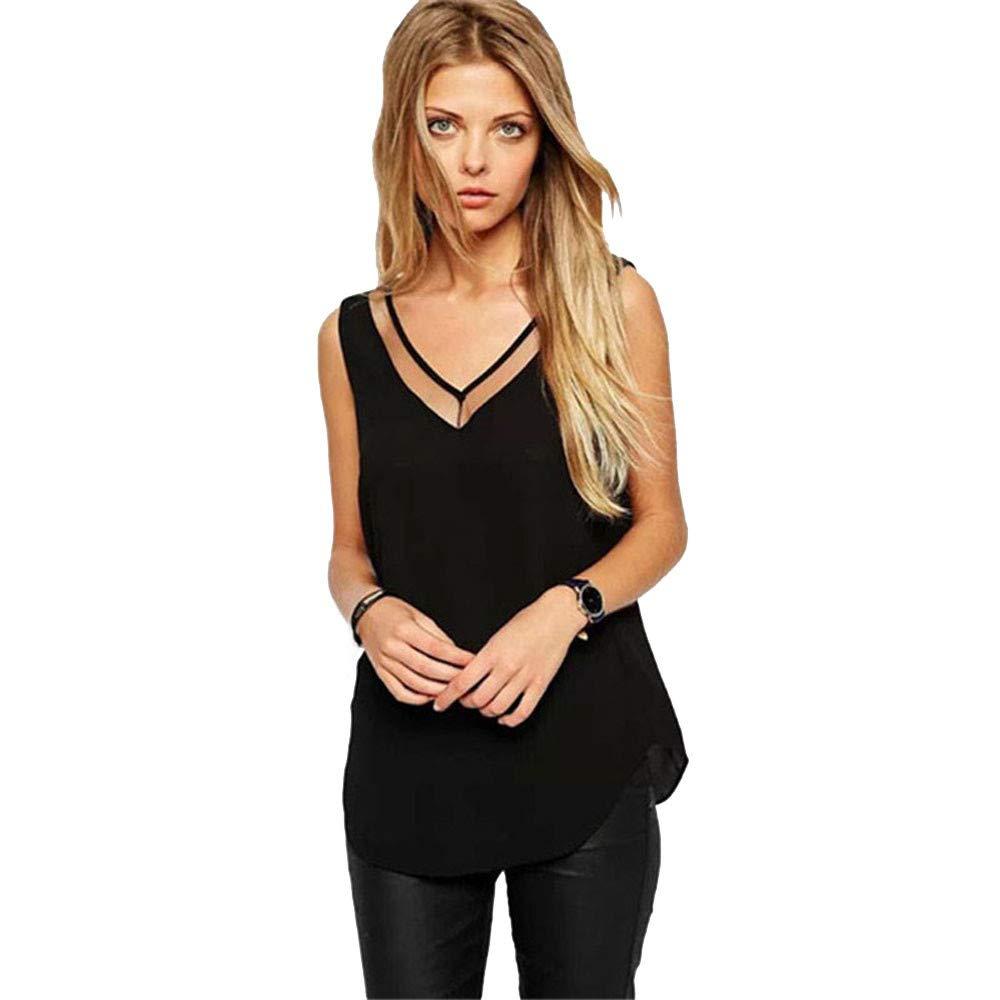Sexy Women Summer V Neck Vest Cami Top Loose Chiffon Sleeveless Tanks T Shirt Blouse Tuxedo Black