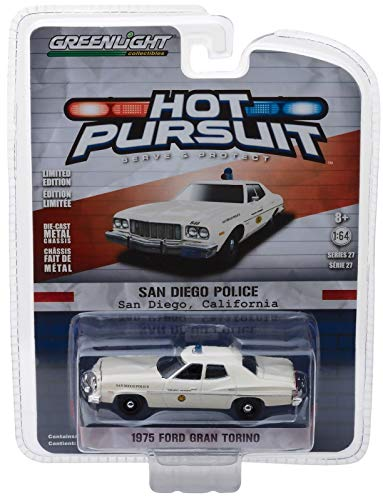 1975 Ford Gran Torino Police San Diego, California Hot Pursuit Series 27 1/64 Diecast Model Car by Greenlight 42840 A