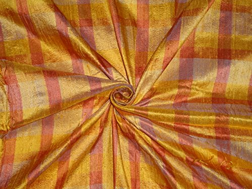 SHADES OF ORANGE COLOR PURE SILK DUPIONI PLAIDS FABRIC - Hobbies,Home decor,Sewing,Fashion,Doll Dress,Furnishing,Interior. ()