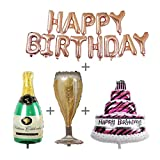 4 Pack Rose Gold Happy Birthday Foil Balloons Letters Banner Giant Champagne Bottle Goblet 3 Layers Large Cake Mylar Foil Balloons Birthday Party Decorations Kit