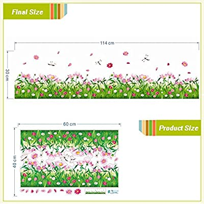 FunnyPicker Cosmoses Flowers Fences Baseboard Wall Decals Home Decorative Stickers Adesivos De Paredes 3D Wall Tatoo Diy Room Mural Art