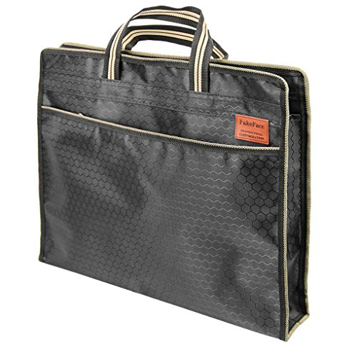 Durable Waterproof Briefcase Expanding File Folder Envelope Zipper Handbag Double-layer B4 Document Data Storage Container Organizer Travel Business Portfolio Carrying Tote ()