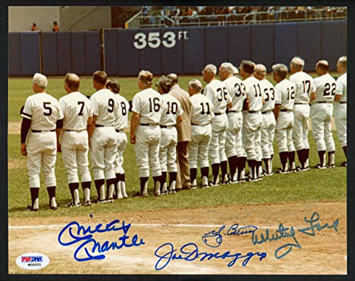 New York Yankees Legends Autographed 8x10 Photo With 5 Total Signatures Including Mickey Mantle, Joe DiMaggio & Yogi Berra #W00031 - PSA/DNA Certified