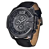 Ecosin® Cool Men's Watch Analog Sport Steel Case Quartz Dial Leather Wrist Watch Gift water resistance stainless steel and alloy 27cm