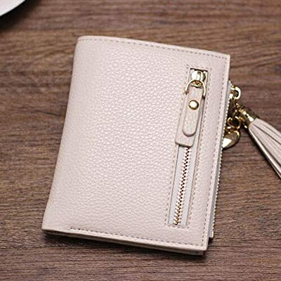 Woman Ladies Mini Purse PU Leather Small Clutch Wallet Zipper Card ID Holder Bag (Color - Beige)