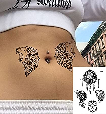 León líneas Tatuajes grafische Tatuajes Negro Fake Tatuajes j504 ...
