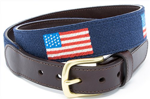 American Flag Needlepoint Men's Belt Hand-stitched Using Top Quality Cotton on Full Grain Leather Backing (Size 40)