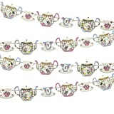 Talking Tables Truly Alice Hanging Teapot Bunting (13 Ft.) for a Tea Party, Multicolor