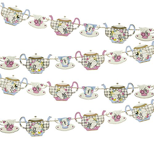 Truly Alice Hanging Teapot Bunting (13 Ft.) for a Tea Party, Multicolor