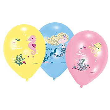 Amakando 6 Globos Infantiles Be a Mermaid / Aprox. 28 cm ...