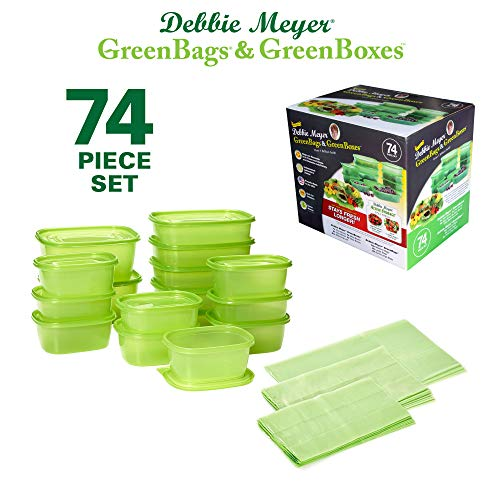 Debbie Meyer GreenBoxes & GreenBags Combo Set, Food Storage Containers with Lids & Bags, Keep Fruits Vegetables, Baked Goods & Snacks Fresher Longer! BPA Free Microwave & Dishwasher Safe 74 - Food Container Combo Pack