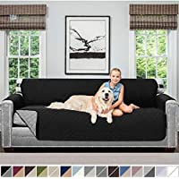 Sofa Shield Original Patent Pending Reversible X-Large Oversized Sofa Protector for Seat Width up to 78 Inch, Furniture Slipcover, 2 Inch Strap, Couch Slip Cover Throw for Dogs, Pets, Sofa, Black Gray