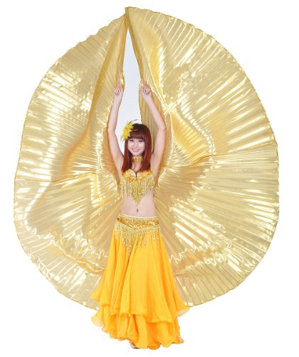 [Dance Fairy Exotic Belly Dance Gold Isis Wings With Sticks] (Sexy Belly Dancer Costumes)