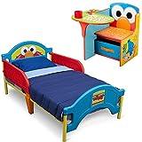 Sesame Street Plastic Toddler Bed w/ Kids Desk Chair