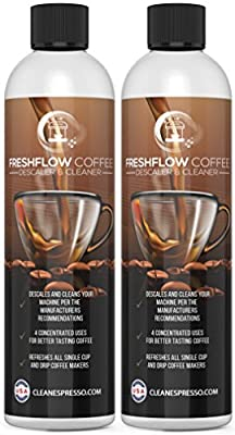 8-Use Coffee Machine Descaling Solution (2 Pack, 4 Uses Per Bottle) Concentrate - Universal Descaler for All Keurig 1.0 & 2.0 K-Cup Pod Machines, Single Use Drip Coffee Makers and Espresso Machines