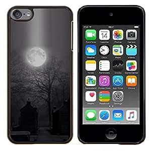 Luna fantasmagórica de Halloween del cementerio- Metal de aluminio y de plástico duro Caja del teléfono - Negro - iPod Touch 6